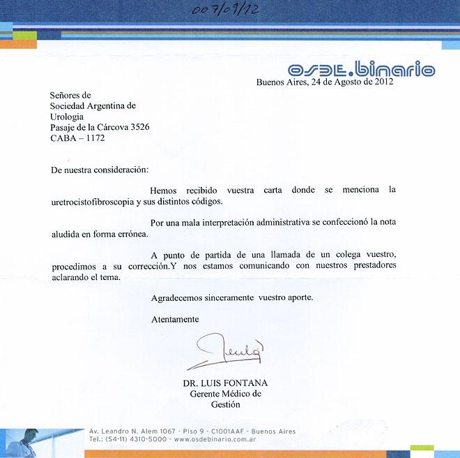 Carta respuesta OSDE